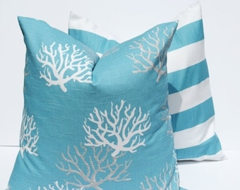 15% Off Sale Beach Pillows Blue Throw Pillow covers - Blue Pillow - Beach Decor - Decorative Pillows - Pillow Covers - Cushion Covers - Pill