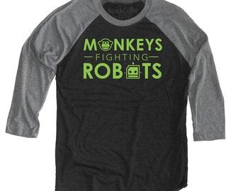 Monkeys Fighting Robots Unisex Baseball Tee