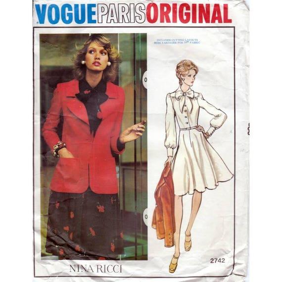70s Vogue Paris Original sewing patterns Nina Ricci 2742, dress and ...
