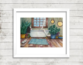 The Bath Illustration, Art Print