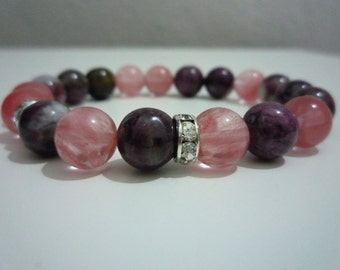 Watermelon tourmaline and tourmaline bracelet