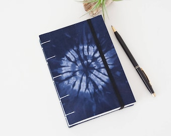 A6 Journal Diary - Travel Journal with Unlined Pages and Indigo Fabric Cover - Gift for Her