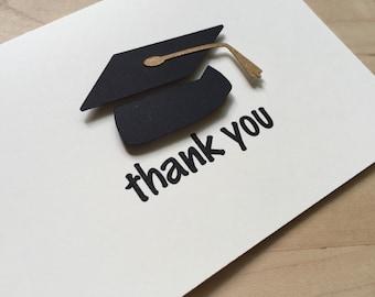 8 Graduation Thank You Cards, Graduation Party Thank You, Graduation Thank You Card Set