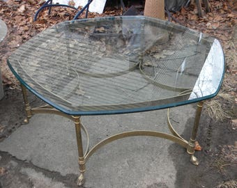 Pick Up Only Great Shape Vintage 1970s Solid Brass Hexagon HOOF FEET LABARGE  Glass Top Coffee Table Pick Up Only