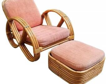 Restored Round Full Pretzel Rattan Lounge Chair With Ottoman