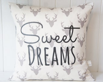 Sweet Dreams Pillow Cover, 20x20, Grey buck head