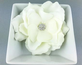 Gardenia jeweled rhinestone wedding hair flower clip, wedding hair accessories, wedding flower clip, hair flower clip, ivory hair flower