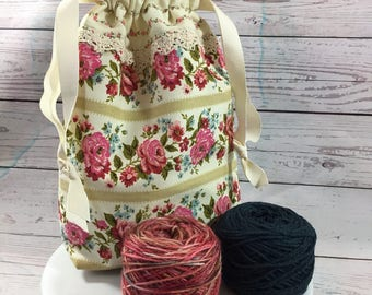Vintage Fabric Drawstring Project Bag - Red and Pink Roses with Blue Forget Me Nots