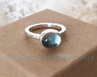 Blue Topaz cabochon stacking ring in sterling silver