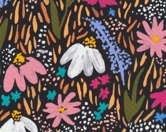 Cloud 9 Fabrics - Gather by Juliet Meeks - Midnight Garden in Black Organic