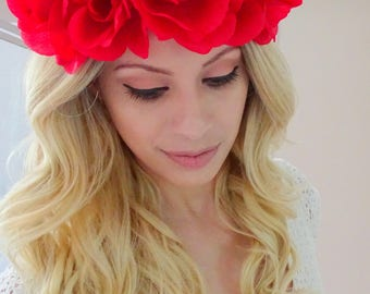 Bright Red Flower Crown, Flower Headband, Fourth of July Flower Crown, Red Floral Crown, Fourth of July, Patriotic