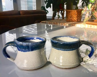 Vintage pottery mugs / studio pottery mugs / hand made ceramic mug / vintage blue drip pottery mug