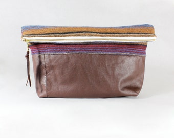 Repurposed Brown Leather Bottom Foldover Clutch Bag