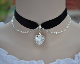 HEART LOCKET BLACK Velvet Choker, Silver Plated Picture Holder With Chain, 30 ribbon colours, 16mm, choose size