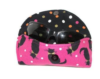 Black  Cat Sunglasses Case, Hard Sunglasses Case, Bow Ties Sunglasses Case, Sunnies Case, Hot Pink and Gold, Eyeglasses Case, Sunnies Case