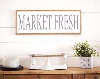 Large kitchen sign, wooden kitchen sign, Kitchen wall decor, Farmhouse Kitchen, market fresh sign, pantry sign