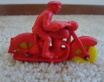 Auburn Rubber Toy Policeman on Motorcycle, Vintage Toy Policeman