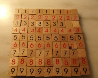Lot of 81 small (1/4 inch) Wood Number Tiles
