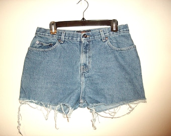 Vintage 1990s High Waist Denim Shorts, Size Extra Large