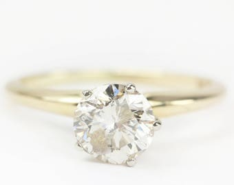 1ct 14K Yellow Gold Solitaire Engagement Ring, Solitaire Diamond Engagement Ring, Diamond Engagement Ring, Natural Diamond Ring