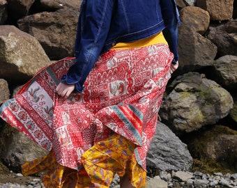 Plus Size Boho Skirt - Ankle Length | Magic Skirt | Reversible Wrap |  Gypsy Wrap Skirt | Magic Wrap | Magic Dress | Reversible Skirt