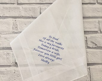 Father of the bride handkerchief, personalised handkerchief, personalised wedding keepsake, Father of the bride gift.  Dad present.