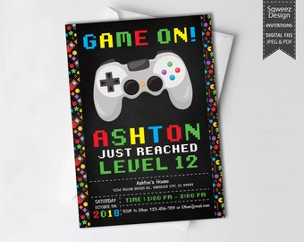 Video Game Invitation, Gamer Party Invitation, Video Game Party Video Game Party Invitations Boy Birthday Invitation Gamer Party - JPEG&PDF