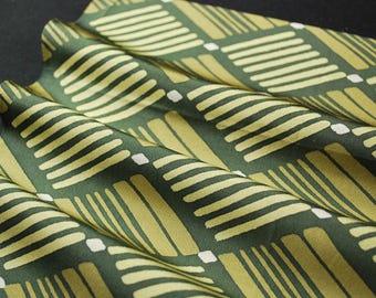 "14.2""w. x 14.3""l. Vintage silk kimono fabric green and cream geometric 3010I"