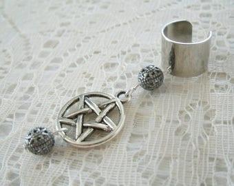 Pentacle Ear Cuff, wiccan jewelry pagan jewelry wicca jewelry witch jewelry witchcraft goddess pentagram ear cuff magic wiccan ear cuff