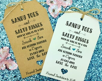 Wedding Abroad, Destination Wedding, Save The Date Invitation, Sandy Toes