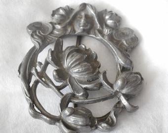 VINTAGE Heavy Art Nouveau Style Pierced Silver Metal Belt BUCKLE