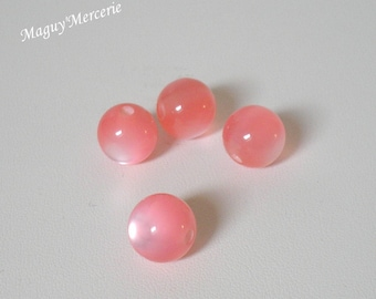 Set of 4 round beads acrylic pink gradient