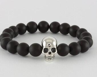 Skull Bracelet in Sterling Silver & Onyx, handcrafted