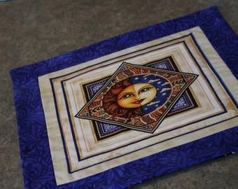Blue Celestial Sun Square   14 1/2 X 14 1/2   Table Runner Topper