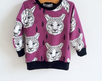 Organic baby sweatshirt, kids sweatshirt, toddler sweatshirt, baby boy sweatshirt, baby girl sweatshirt, leopards, hipster kid