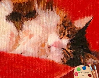 Custom Cat Pet Portraits , Cat Portraits, Pet Oil Portraits on Canvas or as Canvas Prints