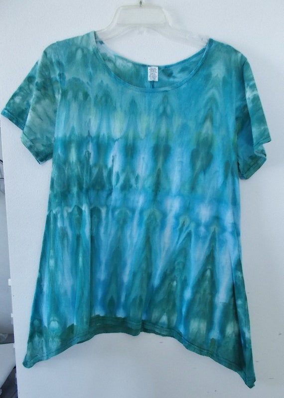 Women's  Large Short Sleeve Hanky-hem Ice dye tie dye Cotton Tunic