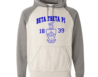 Beta Theta Pi Vintage Heather Hooded Sweatshirt - Royal Blue Print (unless noted otherwise)