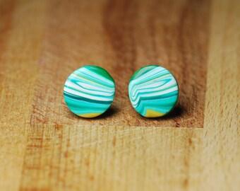 Round Plastic Post Earrings - Polymer Clay Jewellery - Earrings For Sensitive Ears - Planet Earrings - Space Earrings - Gift For Her