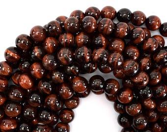 """12mm red tiger eye round beads 15"""" strand 39399"""