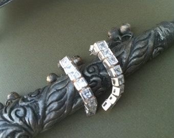 Bridal Earrings, 925 Fine Silver Earrings, Channel Setting,wedding jewelry ETSY, CZ earrings by Taneesi Jewelry