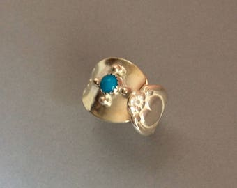 Sterling Silver Salt Spoon Ring with turquoise  stone
