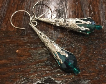 Dramatic Emerald Green Crystal Teardrop Silver Filigree Victorian Cone Dangles   Gothic Earrings originally 14 dollars now 11 spring sale