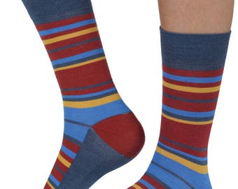 Random Stripe bamboo organic crew socks in denim | seriouslysillysocks