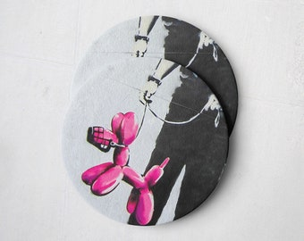 Banksy Drink Coasters – Absorbent Coaster Set of 10 – Coasters for Women & Men – Heavyweight Reusable Thick Pulpboard - Balloon Dog