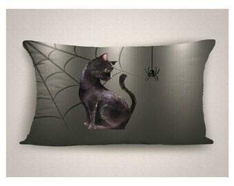 Halloween Throw Pillow with Black Cat and Spider, Lumbar Halloween Pillow,  Halloween Decorations, Black Cat Pillow, Spider Halloween Pillow