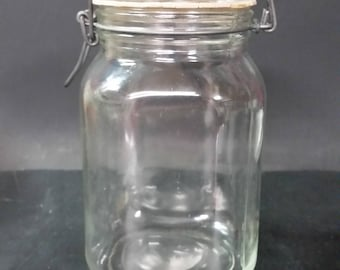 Vintage Ermetico clear square jar canister, cookie jar with wire closure lid and rubber seal