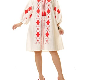 White Vyshyvanka Dress | Boho Embroidery Dress | Linen Embroidered Dress | Bohemian Dress | Boho Maxi Dress Long Sleeve | Peasant Dress 6426