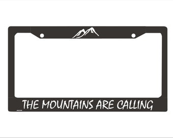 The Mountains Are Calling License Plate Frame |  License Plate |Mts02| Mountains License Plate Holder | Hiking Adventure License Plate