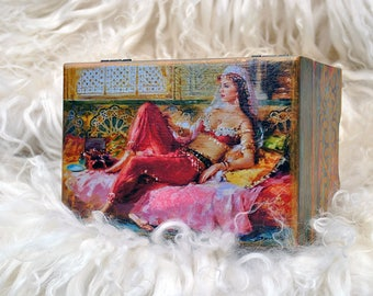 Personalized Box, Wooden jewelry box, decoupage box, wooden jewelry box wooden keepsake box jewelry storage box wooden decoupage box  wooden